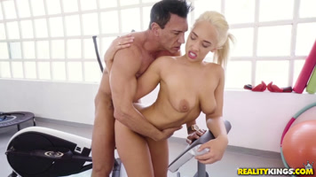 Briana Bounce is fucked standing in the gym by Marcos Bandera